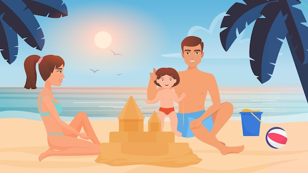 Happy family build sand castle together playing with sand in sandbox tropical beach