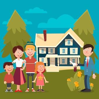 새 집을 사는 행복한 가족.