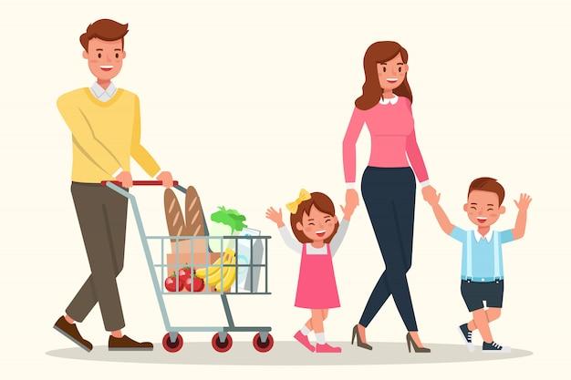 幸せな家族、スーパーで食べ物を買う。