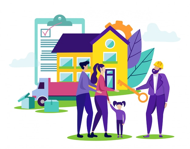 幸せな家族が新しい家を買う