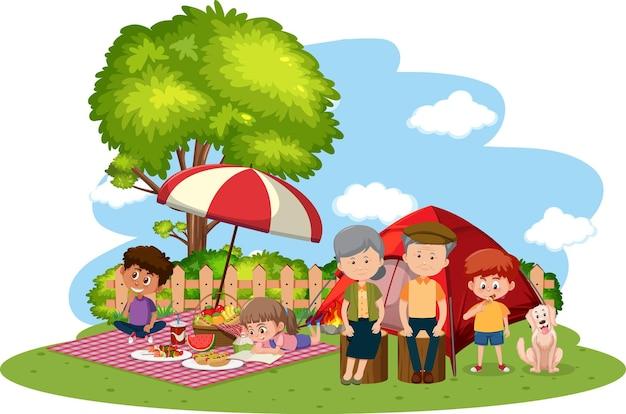 정원에서 캠핑하는 행복 한 가족