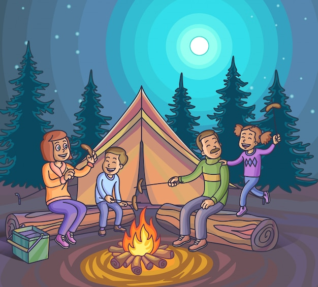Happy family camping with campfire at night.