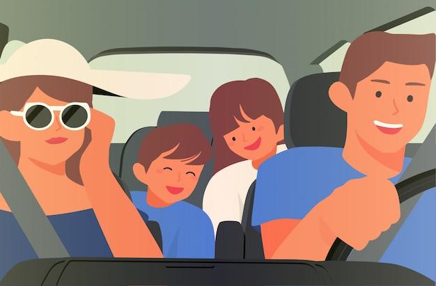 Happy family in car illustration