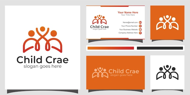 Happy family care logo. happy family relationship with children simple line logo design with business card