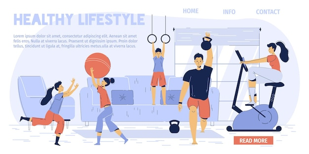 Happy family cartoon characters enjoy sport activities at home-dad works out with kettlebell