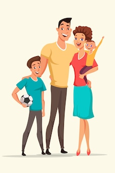 Happy family cartoon color illustration, parents with kids