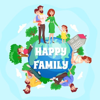 Happy family cartoon composition