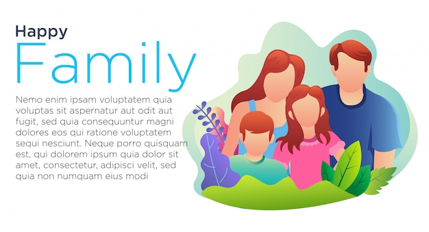 Happy family cartoon landing page template. y online resources