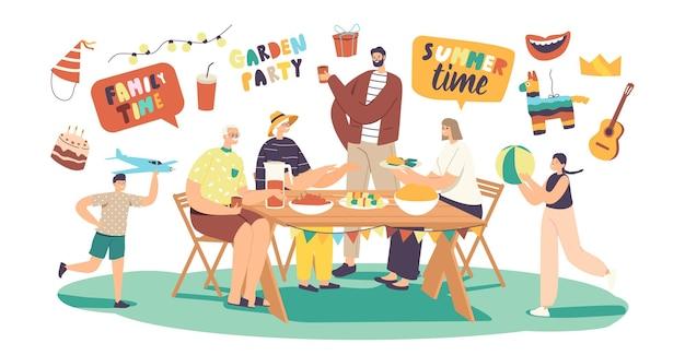 행복한 가족 축하 가든 파티. 남성 또는 여성 캐릭터가 식탁에 앉아 식사를 하고 의사소통을 하고 즐거운 아이들이 집 마당에서 놀고 있습니다. 여름 휴가 휴식. 만화 사람들 벡터 일러스트 레이 션