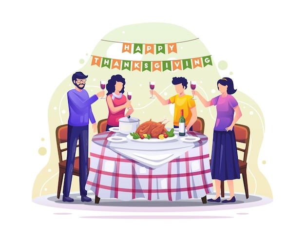 Happy family는 음식 삽화가 있는 테이블 주위에서 저녁을 먹음으로써 추수감사절을 기념합니다