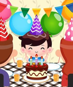 かわいい男の子の誕生日を祝う幸せな家族