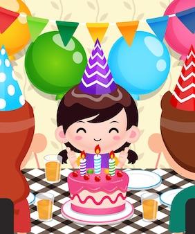 かわいい女の子の誕生日を祝う幸せな家族
