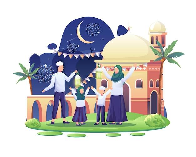 Счастливая семья празднует исламский новый год иллюстрация