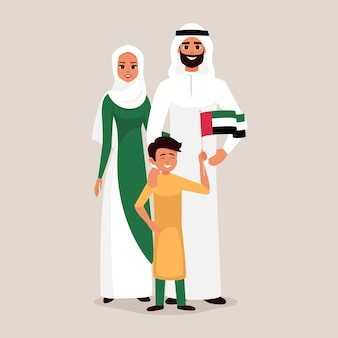 Счастливая семья празднует день независимости объединенных арабских эмиратов