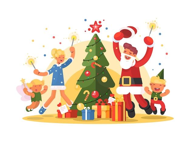 クリスマスを祝う幸せな家族。クリスマスツリーの周りの楽しみ。図