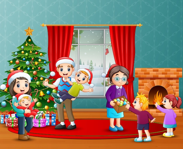 Happy family celebration a christmas in the living room