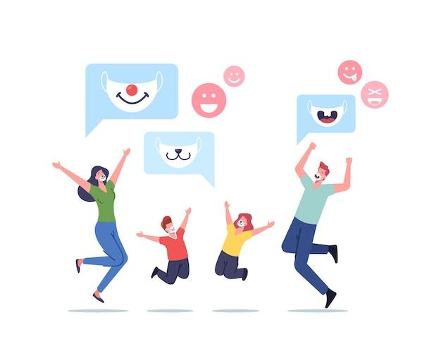 Персонажи счастливой семьи взрослые родители и дети в забавных детских масках с мордочками животных для защиты от клеток коронавируса или пыли