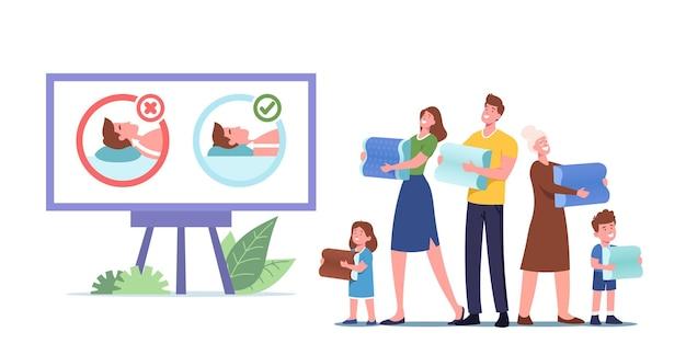행복한 가족 캐릭터는 건강하고 편안한 수면을 위해 의료 정형 베개를 선택합니다. 어머니, 아버지, 할머니와 아이들은 프로모션 쿠션을 잘못 사용하고 올바르게 사용합니다. 만화 사람들 벡터 일러스트 레이 션