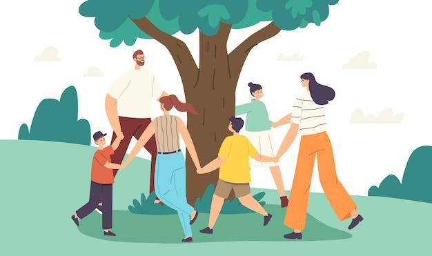 행복한 가족 캐릭터가 나무 주위에서 춤을 춥니다. 어머니, 아버지와 아이들이 손을 잡고 있습니다. 사람들은 나무, 공생, 야외 환경 활동, 여름 레크리에이션을 좋아합니다. 만화 벡터 일러스트 레이 션