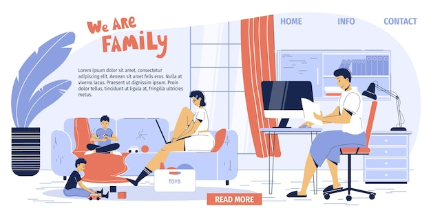 幸せな家族のキャラクター、ホームオフィスのインテリアワークスペースで働くフリーランサーの両親