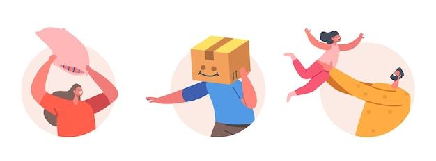 一緒に楽しんでいる幸せな家族のキャラクター。父は娘を投げ、頭に箱を持った少年、枕で戦う母。ゲームをしている親と子供。漫画の人々のベクトル図