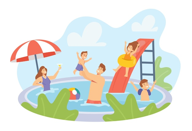 수영장에서 휴식을 취하는 행복한 가족 캐릭터. 엄마, 아빠, 아이들이 호텔에서 수영하고 레크레이션을 즐긴다