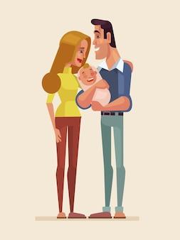 Иллюстрация счастливых семейных персонажей