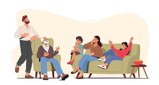 Счастливые семейные персонажи смеются