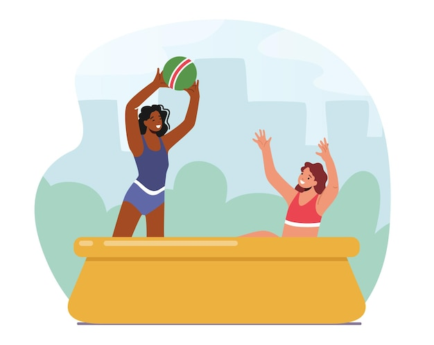 Happy family characters mother and daughter playing ball in outdoor swimming pool. summertime water games, mom with girl activity, fun on summer holidays, vacation. cartoon people vector illustration