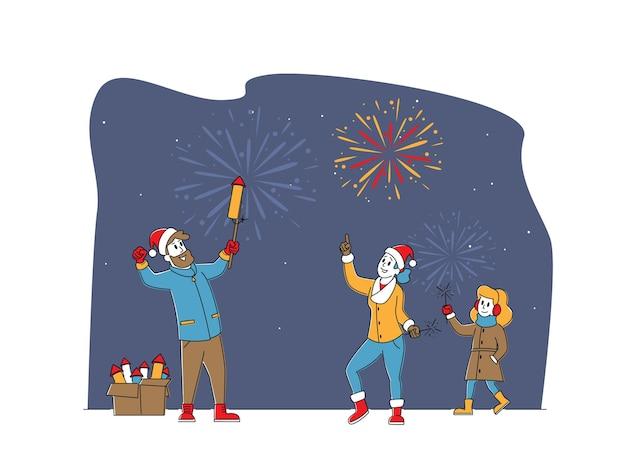 幸せな家族のキャラクターの母、父、娘が屋外で花火を楽しんでいます