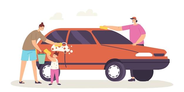 행복 한 가족 캐릭터 어머니, 아버지와 작은 딸 세척 자동차 흰색 배경에 고립 주말 집안일, 가사 활동, 비누로 자동차 거품을 만드는 사람들. 만화 벡터 일러스트 레이 션