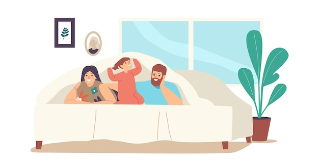 Happy family characters mother, father and little daughter lying under blanket on bed in cozy room decorated with lighting garland. sparetime, sweet life moments. cartoon people vector illustration