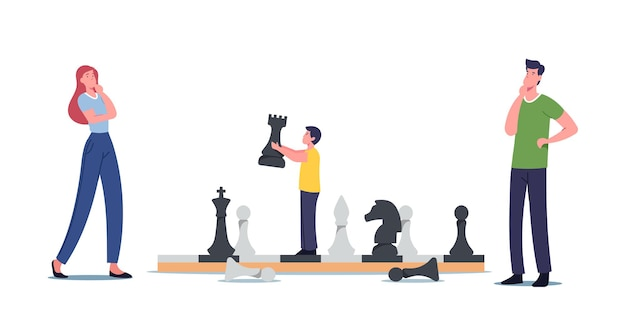 Happy family characters mother, father and little son playing chess. boy moving huge figures on chessboard, spare time amusement, logic game, hobby, recreation. cartoon people vector illustration