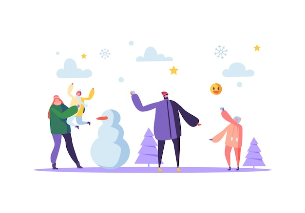 Happy family characters playing snowball on winter holidays. cheerful mother and father throwing snowballs and making snowman.