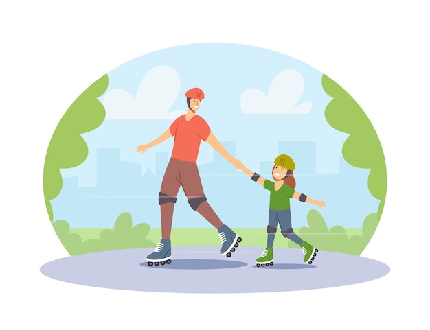 도시 공원에서 롤러 스케이트를 타는 행복한 가족 캐릭터. 젊은 아버지와 어린 딸 활동적인 취미, 스포츠 활동