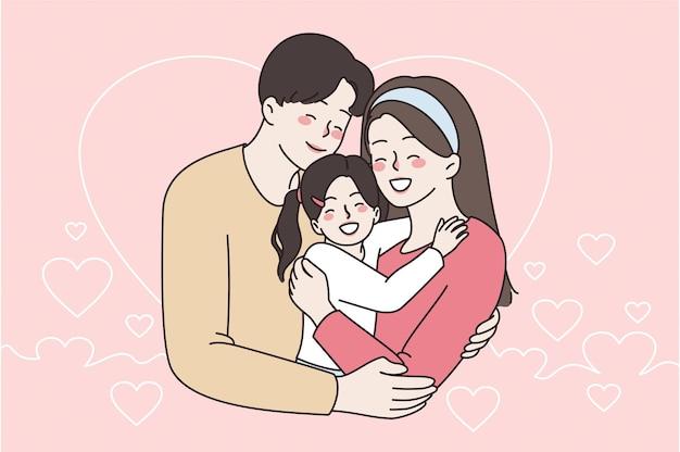 Концепция счастливой семьи, детства и отцовства. молодой улыбающийся родитель женщина и мужчина, стоя обнимая свою маленькую дочь, прекрасно чувствуют себя вместе векторная иллюстрация