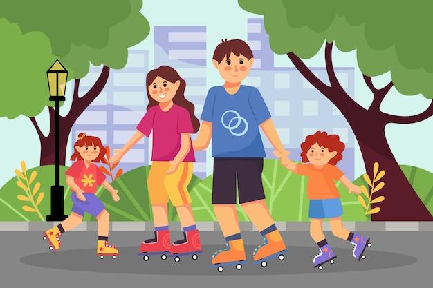 幸せな家族の子供たちが夏の都市公園でローラースケート