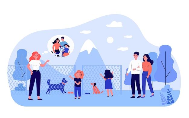 動物保護施設で犬を選ぶ幸せな家族。柵、友人、哺乳類フラットベクトルイラスト。バナー、ウェブサイトのデザイン、またはランディングウェブページのペットと動物の採用コンセプト