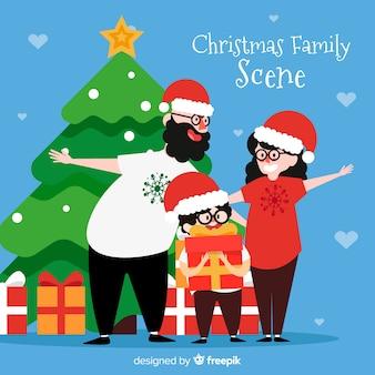 ハッピーファミリーのクリスマスの背景