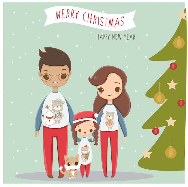 Happy family in christmas greeting card