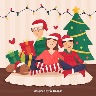 Happy family christmas illustration