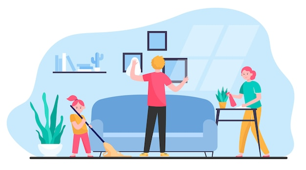 Happy family cleaning apartment