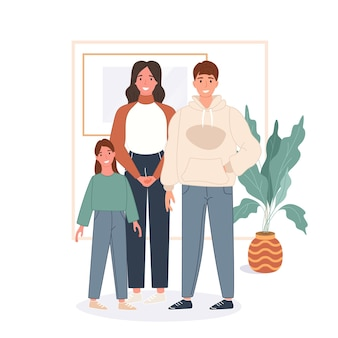 Happy family concept. father, mother, child stay home and spend time together
