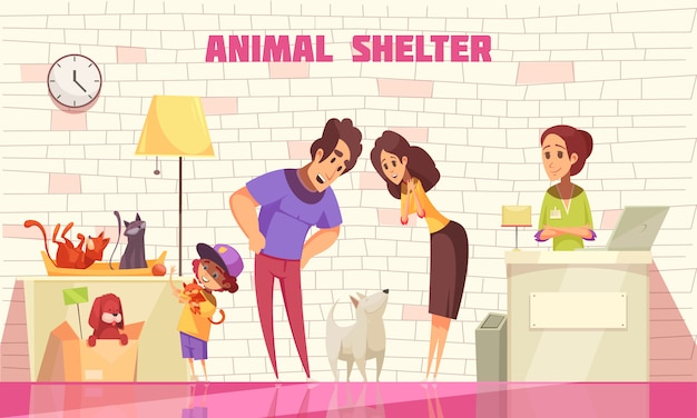 Happy family consisting of mother father and little son adopting  dog from animal shelter flat