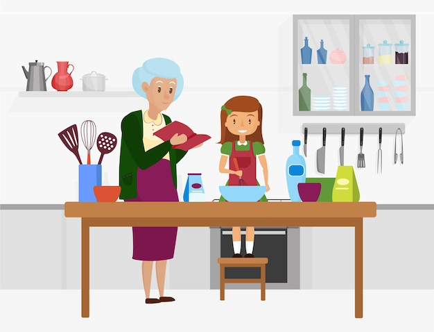 Happy family cook food together grandmother granddaughter characters cooking in kitchen