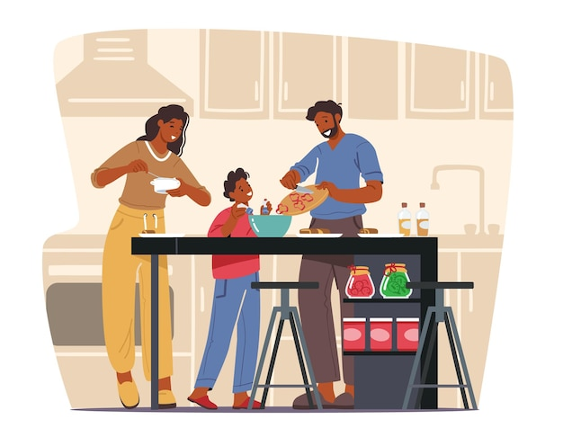 Счастливая семья, готовящая дома, мать, отец и маленький сын на фоне кухни с использованием различных инструментов для приготовления пищи, персонажи вместе проводят время в выходные. векторные иллюстрации шаржа