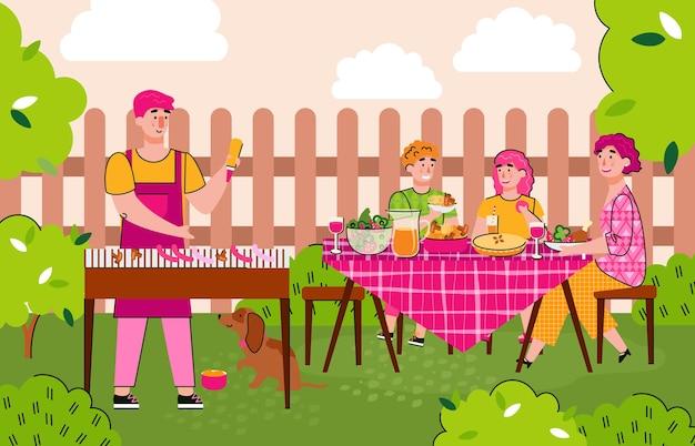 바베큐 식사의 여름 만화 배너에서 행복한 가족 요리 바베큐