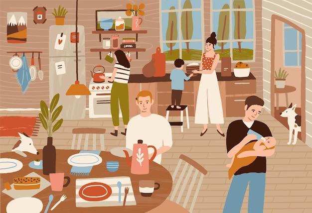 幸せな家族が台所で料理をし、食卓を出す。笑顔の大人と子供たちが一緒に夕食の準備をしている
