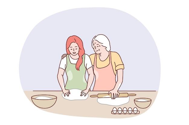 개념을 함께 요리하는 행복 한 가족.