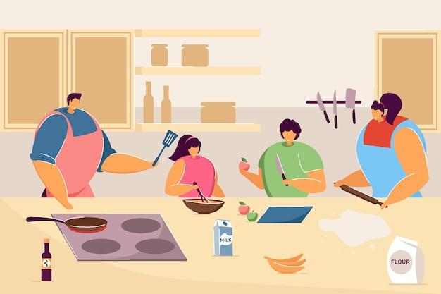 キッチンで一緒に料理をする幸せな家族。漫画の母、娘、父と息子が食べ物のフラットベクトルイラストを準備しています。バナー、ウェブサイトのデザイン、またはランディングウェブページの家族活動のコンセプト